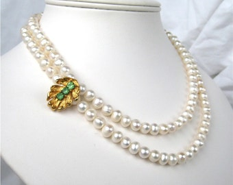 Gold Leaf Pearl Necklace, Green Rhinestone, 2 Strand Pearl Wedding Necklace, White Pearl Bridal Necklace, Asymmetrical, Garden Bride