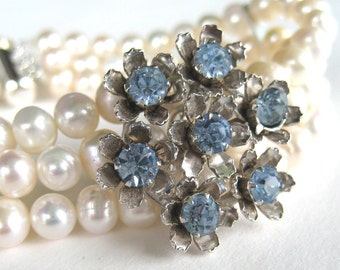 Blue Rhinestone Flower Pearl Bracelet, Silver, 3 Strand Freshwater Pearl Bridal Bracelet, Summer Bride