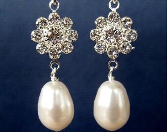 Rhinestone Flower Pearl Clip On Earrings, Silver Ear Clips, Wedding White Pearl Drops, Teardrop Bridal Clip Earrings,  Dolly
