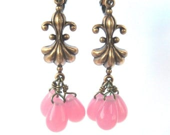 Pink Teardrop Brass Clip On Earrings, Cotton Candy Pink Glass, Antiqued Brass Screw Back Ear Clips, Holly