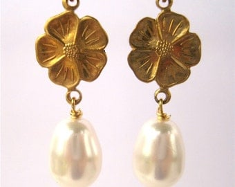 Golden Flower Pearl Earrings, White Pearl Teardrops, Brass Flower Earrings, Dangle Wedding Earrings, Handmade, Dogwood Bridal Earrings