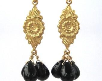 Sunflower Black Teardrop Clip On Earrings, Gold Ear Clips, Brass Flower, Black Smooth Glass Teardrop Trio, Oklahoma Clip Earrings