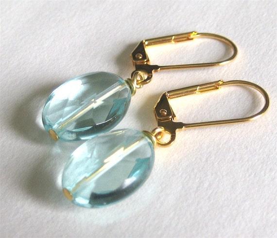 Light Aqua Earrings, Gold Earrings, Light Blue, Handmade, Lissa