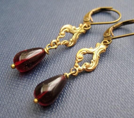 Burgundy Glass Brass Earrings, Dark Red Teardrop, Handmade, Gloria