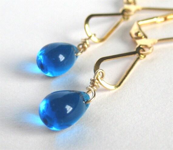 Sapphire Blue Glass Earrings, Gold Teardrop Earrings, Lever Back Ear Wires, Ocean Blue Glass Drops, Handmade, Loily