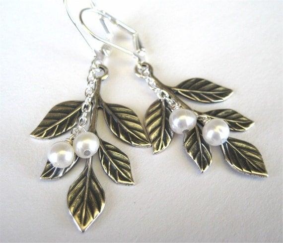 Silver Leaf Earrings, Pearl Earrings, Handmade, Portia
