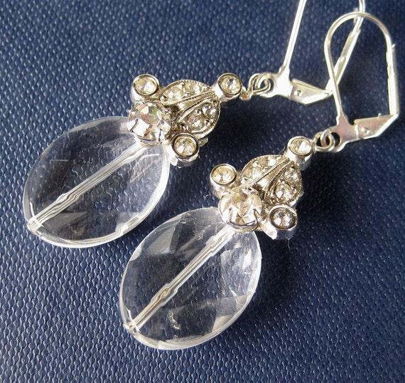 Clear Quartz Silver Earrings, Vintage Rhinestone, Handmade, Natasha