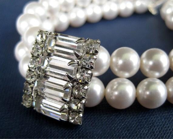 Pearl Bridal Bracelet, Vintage Rhinestone, Silver, Two Strand Pearl Bracelet, Handmade, Corinna