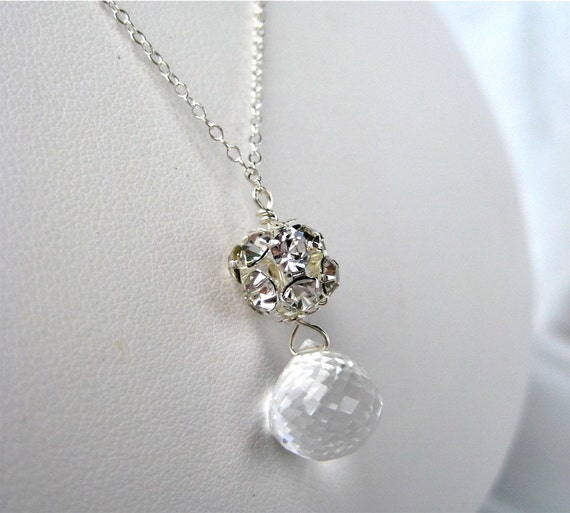 Clear Teardrop Necklace, Rhinestone Ball, Sterling Silver Chain, Handmade, Little Sparkles