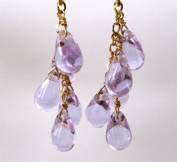 Lavender Clip On Earrings, Glass Teardrops, Gold Clip Earrings, Handmade, Lavande
