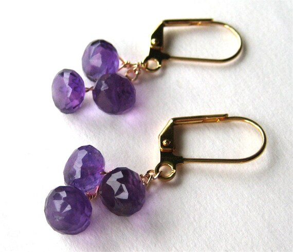 Amethyst Earrings, Purple Gemstone Onion Briolettes, Gold Lever Back Earrings, Handmade, Amethyst Teardrops