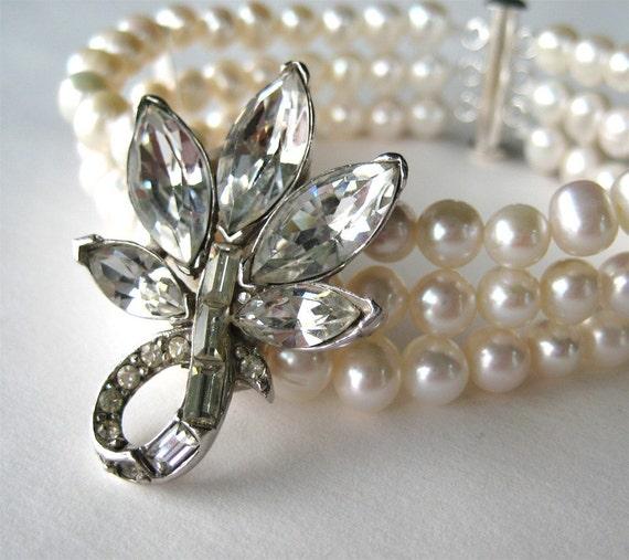 Reserved for F, Pearl Rhinestone Bracelet, Pearl Necklace, Custom Pearl Rhinestone Earrings