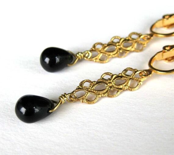 Black Dangle Clip On Earrings, Brass Filigree, Gold Ear Clips, Black Glass Teardrop, Lightweight Clip Earrings, Handmade, Roma