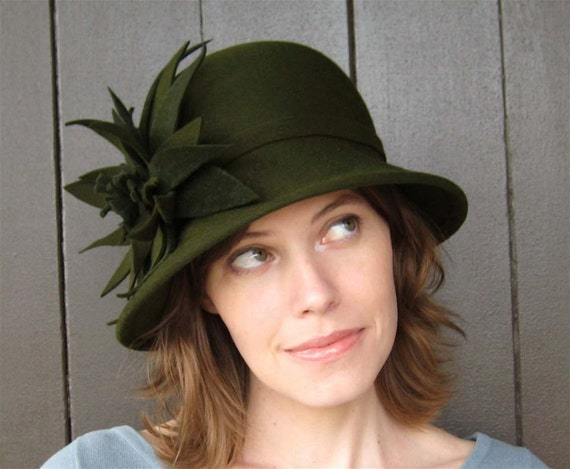 Olive Green Cloche Hat, Handmade Millinery, Womens Hat, Winter in the City