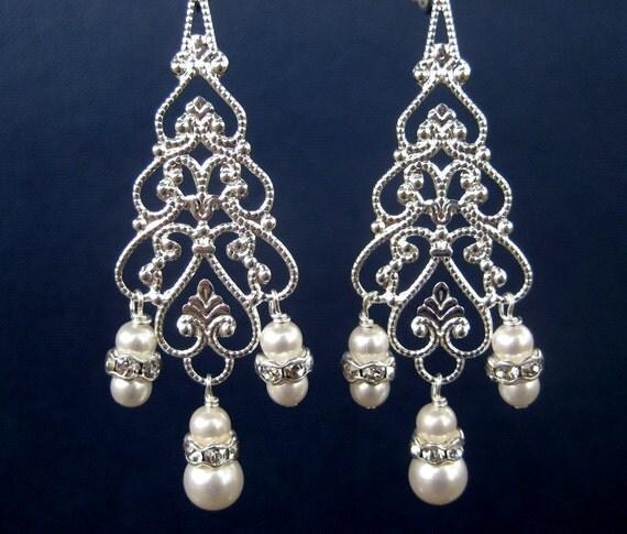Chandelier Bridal Clip On Earrings, Long Dangle Pearl Rhinestone Clipons, Silver Filigree Teardrop Wedding Clip Earrings, Silver Lucca