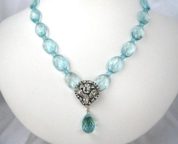 Light Blue Necklace, Vintage Rhinestone Wedding Necklace, Handmade, Bernadette