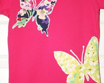 Girls Butterfly Shirt - Size 3 months to 12 years - by Green Apple Boutique