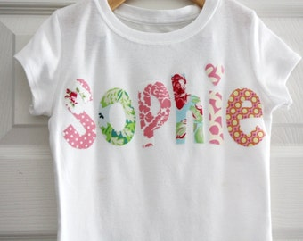 Personalized Name Shirt - Size 3 months to 14 years - by Green Apple Boutiue
