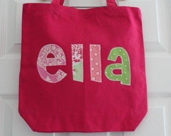 Girls Large Personalized Tote Bag - Library Bag, Sleepover, or Extracurricular Activity Bag
