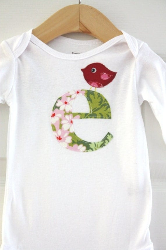 Personalized Initial Shirt with Birdie - Size 3 months to 12 years by Green Apple Boutique
