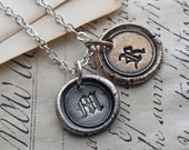 Bronze and Silver Wax Seal Inital Necklace - Mixed Metals - Personalized Wax Seal Necklace - Custom Initials