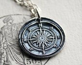 Compass Necklace ~ Compass Rose Wax Seal Necklace ~ Nautical Necklace ~ Graduation Necklace ~ Nautical Jewelry ~ Guidance & Direction