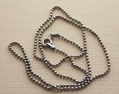 Bead Ball Chain - 16, 18 and 20 inch lengths - antiqued or shiny silver