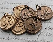 Wax Seal Monogram Initial in Bronze or Antiqued Bronze