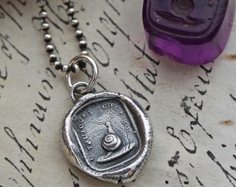 Snail Wax Seal Charm Necklace - Always with Me - Snail Pendant made from a french wax seal intaglio, Home Sweet Home - F115
