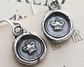 tiny crown wax seal earrings in eco friendly fine silver, princess crown queen jewelry - DE820
