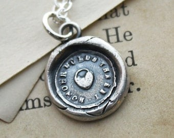 Heart Padlock Wax Seal Necklace - Honor Holds the Key - antique wax seal jewelry in fine silver - V1255