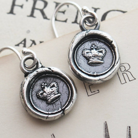 tiny crown wax seal earrings in eco friendly fine silver, princess crown queen jewelry - DE820