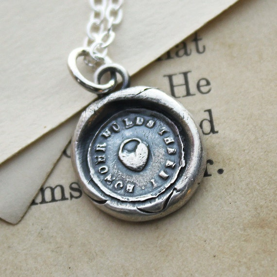 Heart Padlock Wax Seal Necklace - Honor - antique wax seal jewelry in fine silver