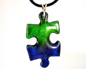 Puzzle piece pendant - green and blue