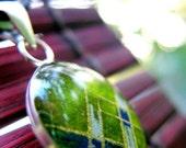 Origami paper and resin pendant - green, blue, white and gold