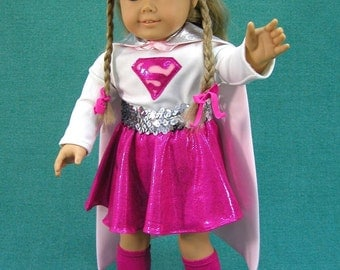 Cosplay  Supergirl Super Hero Doll Clothes  American Girl Doll, PRETTY IN PINK