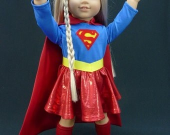 Supergirl, Super Girl, Superhero, Super Hero, outfit or costume for American Girl Doll