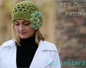 PDF CROCHET PATTERN Super Easy Open Mesh Cloche Hat with cluster embellishment