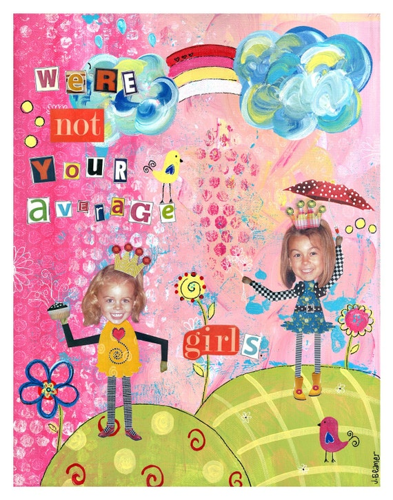 Not your Average GirlS 8x10 PERSONALIZED Wood Mounted Print - 2 girls