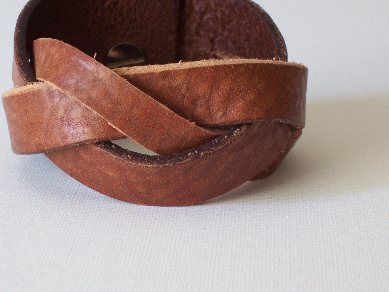 Braided leather cuff bracelet repurposed upcycled reloved Repurposed leather belts