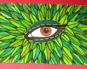Original Drawing ACEO Brown Eye With Green Leaves
