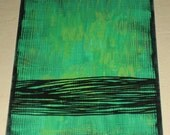 Original Drawing ACEO Green with Black Lines Design