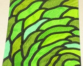 Original Drawing ACEO Green Cabbage Leaves Design