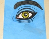 Original Drawing ACEO Green Eye and Blue Face Design