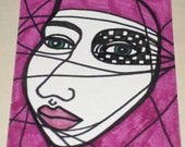 Original Drawing ACEO Blue Eyes Checkered Eye Purple Lips Design