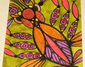 Original Drawing ACEO Earthtones Design