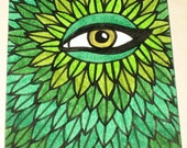 Original Drawing ACEO GreenMan Design
