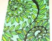 Original Drawing ACEO Green Vines Blue Sky