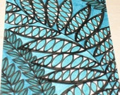 Original Drawing ACEO Turquoise and Green Leaves Design