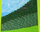 Original Drawing ACEO Green Welsh Hills with Clouds Design